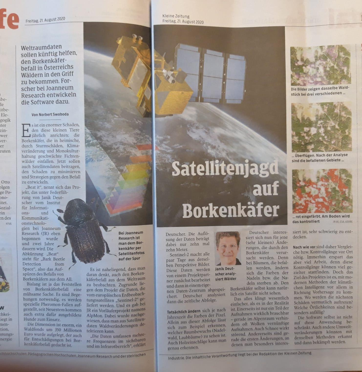 21082020_Kleine Zeitung_Satellitenjagd auf Borkenkäfer